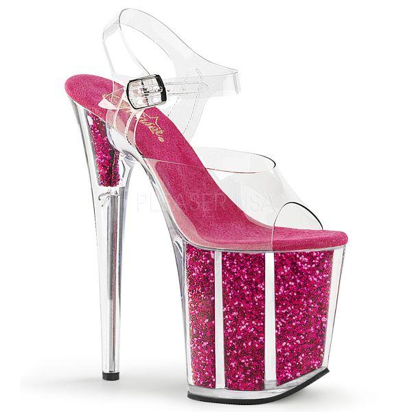 Durchsichtige Sandalette mit hot pink Glitter gefülltem Plateau FLAMINGO-808G